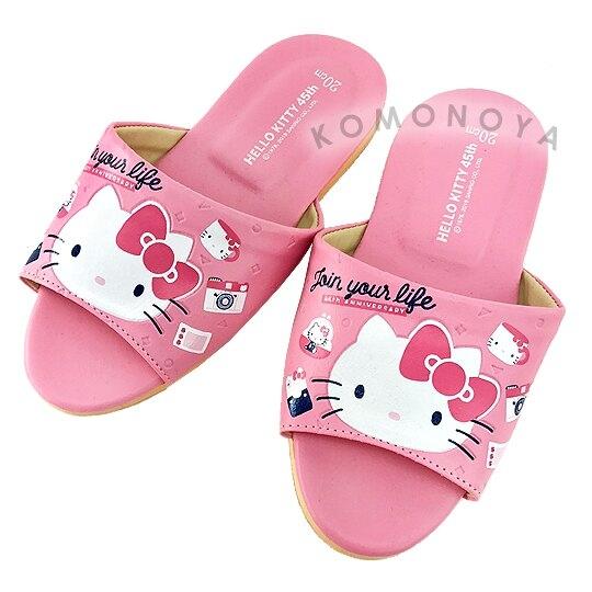〔小禮堂〕Hello Kitty 兒童皮質拖鞋《粉.45週年》室內拖鞋.皮拖 _713909-23472_