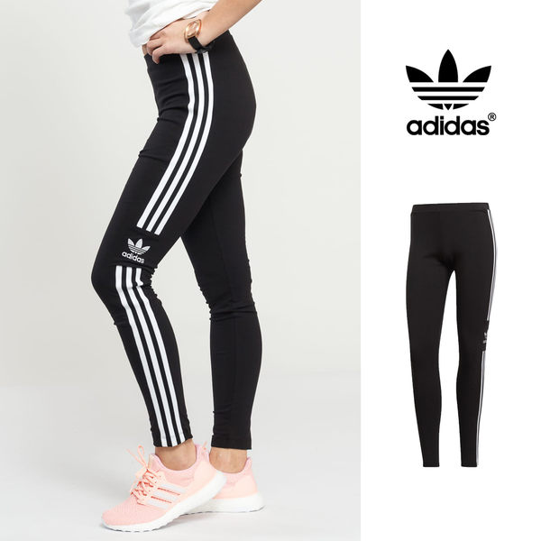 【GT】Adidas Originals 黑 長褲 女款 緊身 運動 休閒 棉質 鬆緊 彈性 愛迪達 三葉草 緊身褲 內搭褲