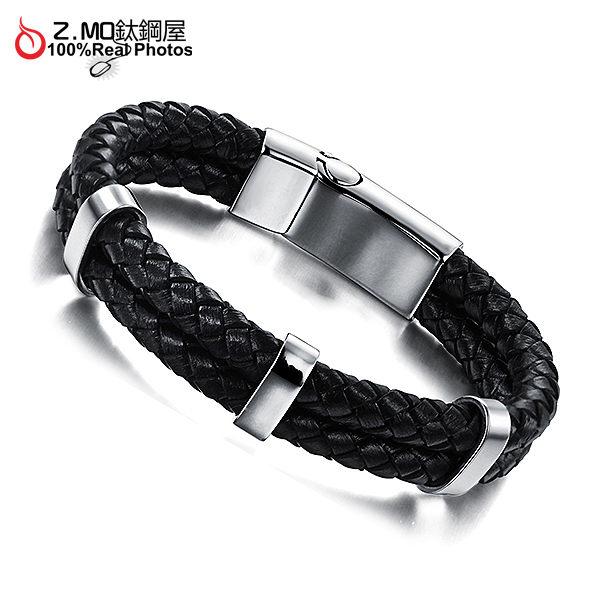 [Z-MO鈦鋼屋]編織皮繩手環/素面基本款設計/男生手環/韓版手環推薦單件價【CKLS899】