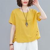 文藝復古純色寬鬆亞麻上衣夏季大碼顯瘦休閒棉麻刺繡花短袖T恤女-Milano米蘭