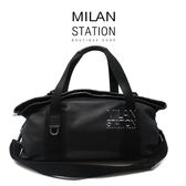 【台中米蘭站】CHANEL 黑色全皮對折扣式休閒旅行袋