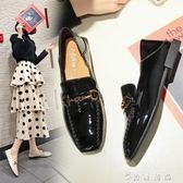 一腳蹬小皮鞋女英倫學院風復古森系新款春季韓版百搭社會鞋子  薔薇時尚