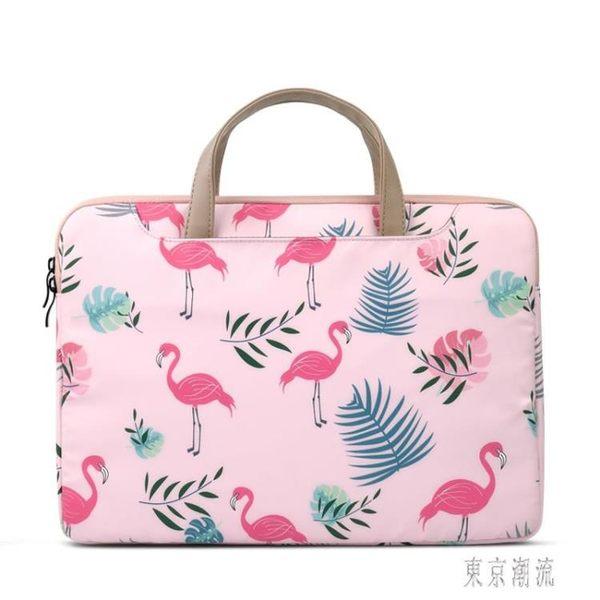 韓版辦公包火烈鳥卡通筆電包手提15.6寸蘋果女公文包文件包小清新 LJ4929『東京潮流』