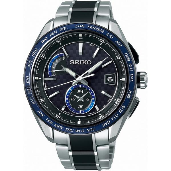 【台南 時代鐘錶 SEIKO】精工 BRIGHTZ 太陽能電波鈦金屬錶款 SAGA261J@8B63-0AN0B 藍圈/銀 43mm