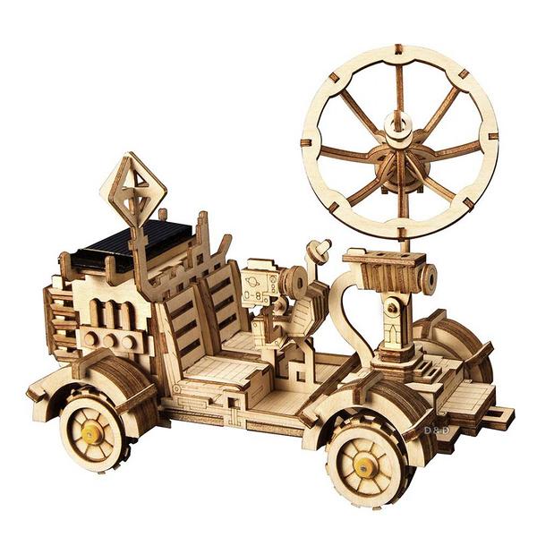 《 Robotime  》3D木製拼圖 - LS401 太陽能車 Moon Buggy╭★ JOYBUS玩具百貨
