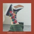 襪子   昭和時代配色格紋棉襪  單色-小C館日系