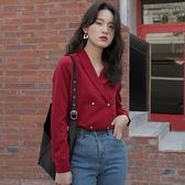 紅色v領襯衫女春款長袖設計感小眾法式輕熟上衣復古港風襯衣春春 【夏日新品】