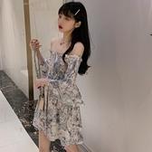 法式小眾碎花洋裝女早露肩長袖短裙2021新款氣質收腰桔梗裙子 【母親節特惠】