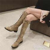 復古馬丁靴子女英倫風長筒靴方頭粗跟過膝長靴女鞋 青山市集