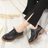 牛津鞋 韓版系帶深口低幫鞋高跟圓頭休閒