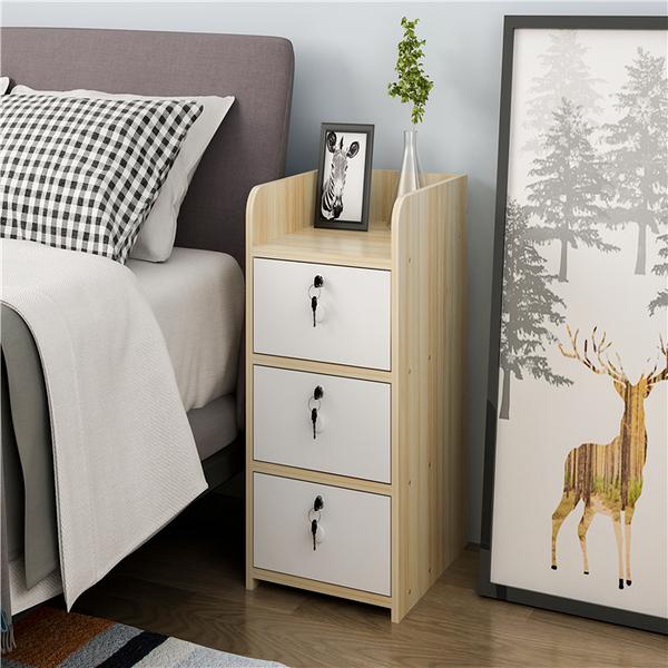 床頭櫃 床頭櫃簡約現代帶鎖迷你窄櫃子簡易收納儲物櫃小型北歐臥室床邊櫃  ATF  全館鉅惠