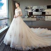 2018新款婚紗禮服新娘結婚拖尾公主夢幻歐美一字肩孕婦大碼 WE2628【樂愛居家館】
