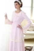 英國春夏新品 複古奢華舒適全棉公主長裙甜美蕾絲家居服睡衣-nig313