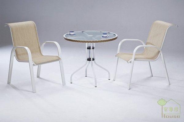 [家事達] 台灣OA-526-1/2 休閒玻璃圓桌+鋁合金中背休閒椅組 餐桌椅組