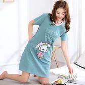 純棉睡衣女夏季韓版清新學生可愛寬鬆甜美短袖可外穿睡裙女士夏天「時尚彩虹屋」