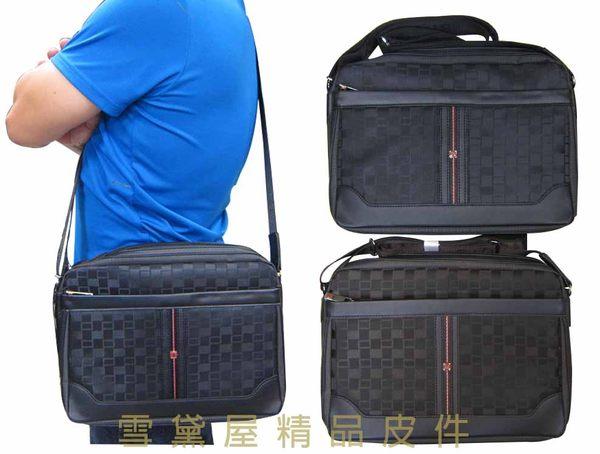 ~雪黛屋~STATE-POLO 肩側包防水尼龍布+皮革二層主袋可放14吋電腦保護隨身品外出014-1615(大)