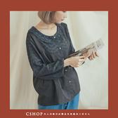 棉麻衫   手鉤花領刺繡拼接棉麻衫   二色-小C館日系