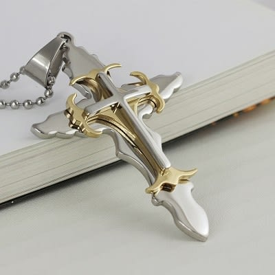 鈦鋼十字架項鍊 不銹鋼項鍊 情侶款 吊墜 316精鋼 十字 男 女 禮物 聖經 經文 沂軒精品 F0012