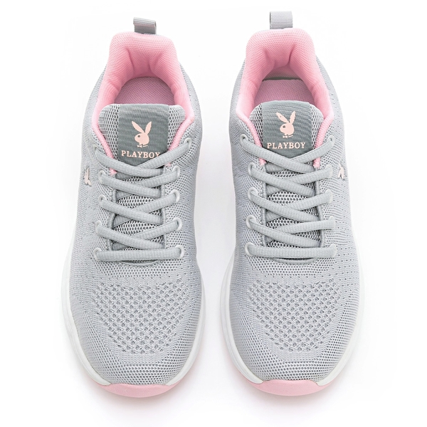 PLAYBOY 輕量氣墊休閒鞋-灰粉(Y6736)