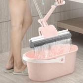 海綿拖把免手洗擠水滾輪式