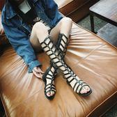 夏季羅馬歐美松緊性感露趾長筒涼鞋女