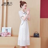 限時特價 夏季新款法式復古初戀桔梗仙女裙收腰顯瘦森系氣質白色連衣裙