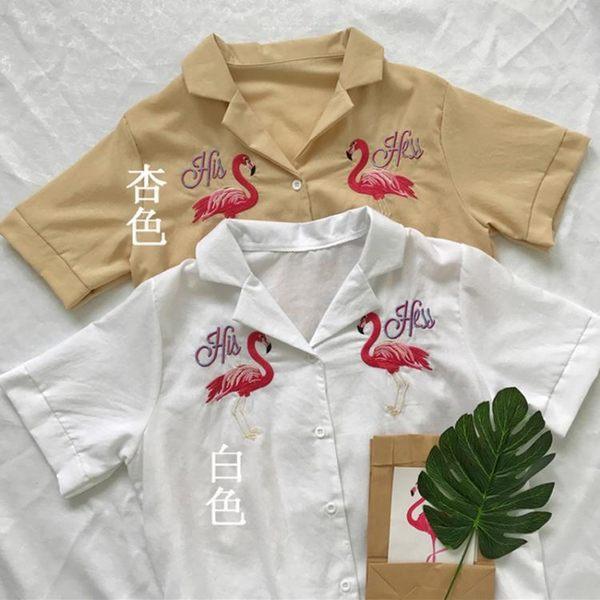 [超豐國際]夏季Chic風時尚簡約顯瘦火烈鳥刺繡V領棉麻襯衫1入
