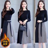 洋裝 8939#中長款氣質顯瘦打底裙子秋冬加絨款HF303快時尚