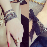 韓版復古黑金藍鑽水鑽手鍊手鐲低調的奢華單層多層選時尚百搭 降價兩天