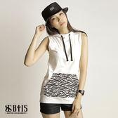 【BTIS】連帽口袋豹紋 無袖上衣  / 米白色