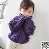 女童毛衣外套秋冬新款韓版寶寶針織打底衫中小童高領套頭毛衣 全館88折