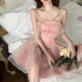 港风性感气质修身抹胸礼服法式欧根纱粉色吊带洋裝仙女小个子夏