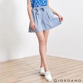 【GIORDANO】女裝甜美蝴蝶結綁帶寬短褲-86 藍白丹寧