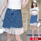網紗拼接釘珠裝飾不規則A字牛仔裙 S-XL O-ker歐珂兒 166010-1