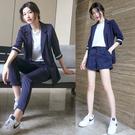職業套裝~女時髦氣質chic短褲港味豎條...