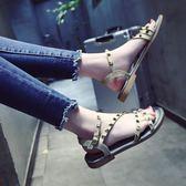 【黑色星期五】涼鞋女夏新款正韓時尚學生平底一字扣