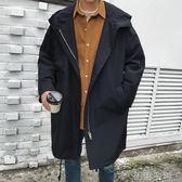 男士中長款韓版帥氣寬鬆連帽夾克外套春秋季風衣潮男秋裝休閒大衣 初語生活館