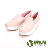 W&M BOUNCE系列 超彈力復古蕾絲花厚底增高 女鞋-粉(另有黑)