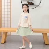 名族風童裝 兒童漢服女春夏古裝女童改良中國風小孩民族服裝民國風幼兒國學服