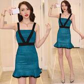 $299出清專區 韓系時尚亮晶閃修身包臀V型吊帶裹胸高腰魚尾無袖洋裝