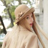 禮帽-時尚優雅英倫風花朵裝飾毛呢女帽子4色72b29[巴黎精品]