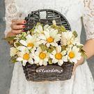 假花客廳裝飾墻壁掛花籃仿真花插花墻掛假花...