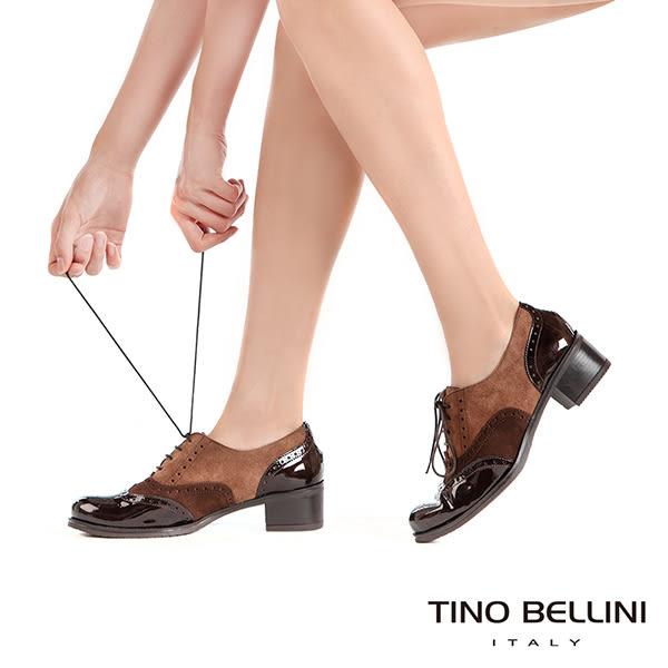 Tino Bellini西班牙進口異材質3色中跟牛津鞋 _ 咖  A69015  歐洲進口款
