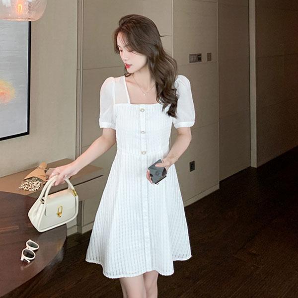 洋裝 高端方領連身裙-媚儷香檳-【D1925】