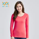 【WIWI】MIT溫灸刷毛圓領發熱衣(朝陽紅  女S-2XL)