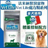*WANG*【含運】法米納 Vet Life獸醫寵愛天然處方系列《體重控制配方》2kg 全犬適用【VDOB-11】
