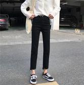 大韓訂製黑色長褲韓版女裝高腰顯瘦chic復古直筒褲牛仔褲寬
