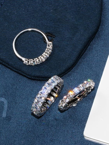 純銀戒指 925純銀排鉆戒指女時尚個性小眾設計高級感ins潮輕奢滿鉆食指指環【萬聖節限時】
