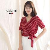 東京著衣-修身綁帶條紋上衣-S.M.L(171915)
