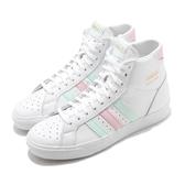 adidas 休閒鞋 Basket Profi W 白 綠 粉紅 女鞋 皮革 高筒 復古球鞋 【ACS】 FW4515